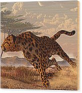 Speeding Cheetah Wood Print by Daniel Eskridge