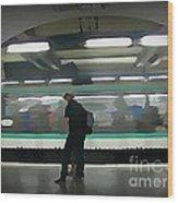 Speeding Subway Train Wood Print