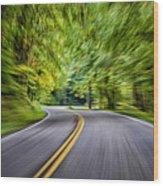 Speeding Through The Forest E42 Wood Print
