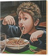 Spaghetti Boy Wood Print