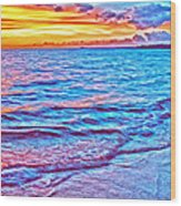 Spencer Beach Sunset Wood Print