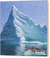Sperm Whale Fluke In Front Of Iceberg Wood Print