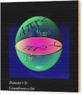 Sphere Equations Maths Poster Black Wood Print