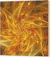Spherical Golden Stars Wood Print