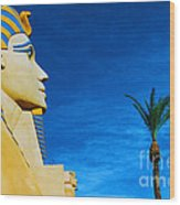 Sphinx And Palm Trees Las Vegas Wood Print
