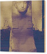Sphinx Statue Blue Yellow And Lavender Usa Wood Print