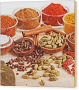 Spices And Herbs Wood Print