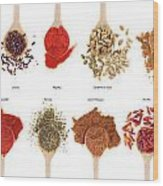 Spices Collection On Spoons Wood Print