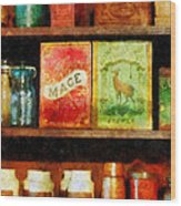 Spices On Shelf Wood Print