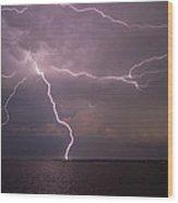 Spider Lightning Over Charleston Harbor Wood Print