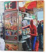 Spider Man Hot Dogs Wood Print