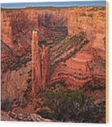 Spider Rock Sunset Wood Print