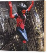 Spider Gal Leaping Wood Print