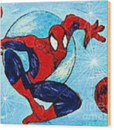 Spiderman Out Of The Blue 2 Wood Print by Saundra Myles