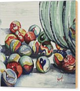Spilled Marbles Wood Print