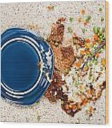 Spilled Plate Of Food On Carpet Wood Print