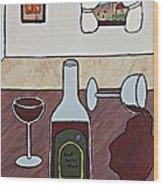 Essence Of Home - Spilt Glass Of Wine Wood Print