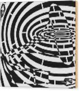 Spin Art Phonographic Maze  Wood Print