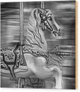 Spinning Horses Wood Print