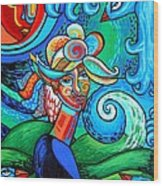 Spiral Bird Lady Wood Print