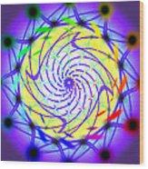 Spiral Light Hexagon Wood Print