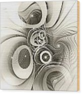 Spiral Mania 2 - Black And White Wood Print