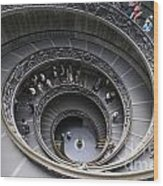 Spiral Staircase By Giuseppe Momo At The Vatican Museum. Rome. Italy Wood Print by Bernard Jaubert