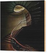 Spiral Staircase In Green And Red Wood Print