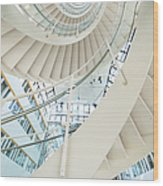 Spiral Staircase Inside Office Complex Wood Print