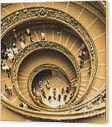 Spiral Staircase Wood Print by Stefano Senise