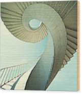 Spiral Stairs In Pastel Tones Wood Print
