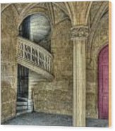 Spiral Stairway And Red Door Wood Print
