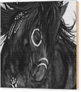 Spirit Feathers Horse Wood Print