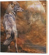 Spirit Of The Wolf Wood Print