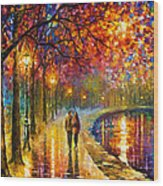 Spirits By The Lake - Palette Knife Oil Painting On Canvas By Leonid Afremov Wood Print