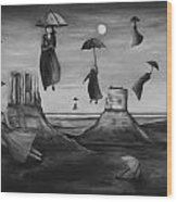 Spirits Of The Flying Umbrellas Bw Wood Print
