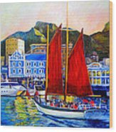 Spirit's Sunset Sail Wood Print