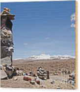 Spiritual Cairn In The Peruvian Altiplano Wood Print