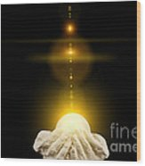 Spiritual Healing Light In Cupped Hands On Black Wood Print