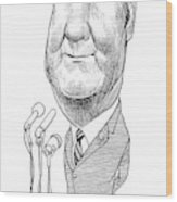 Spiro Agnew Caricature Wood Print