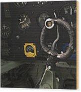 Spitfire Cockpit Wood Print by Adam Romanowicz
