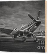 Spitfire In Black And White Wood Print
