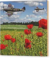 Spitfires And Poppy Field Wood Print
