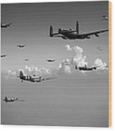 Spitfires Escorting Lancasters Black And White Version Wood Print