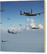 Spitfires Escorting Lancasters Wood Print