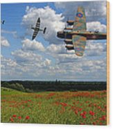 Spitfires Lancaster And Poppy Field Wood Print
