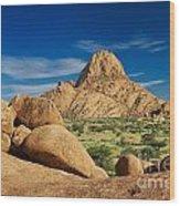 Spitzkoppe Mountain Landscape Of Granite Rocks Namibia Wood Print