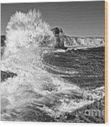 Splash - Panther Beach In Santa Cruz California. Wood Print