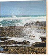 Splashes At Sea Wood Print
