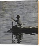 Splashing In The Water Caused Due To Kashmiri Man Rowing A Small Boat Wood Print